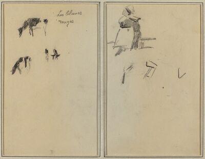 Paul Gauguin, 'Two Cows; A Seated Breton Woman [verso]', 1884-1888