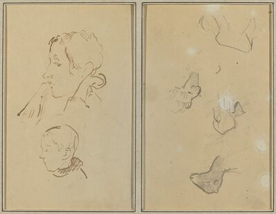 Paul Gauguin, 'Two Heads; Studies of Sheep [recto]', 1884-1888