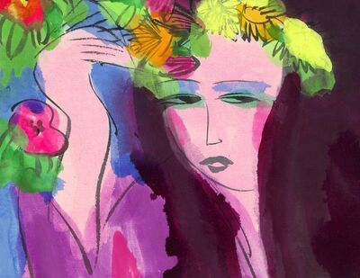 Walasse Ting 丁雄泉, 'Woman with flowers and fan'