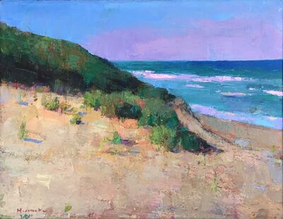 "Larry Horowitz, '""Ocean Beach"" oil painting of the ocean view around the dunes', 2018"