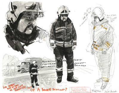 David Claerbout, 'Highway Wreck drawing (character study Patrick Firefighter)', 2013