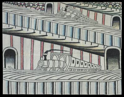 Martín Ramírez, 'Untitled (Trains on Inclined Tracks)', c. 1960