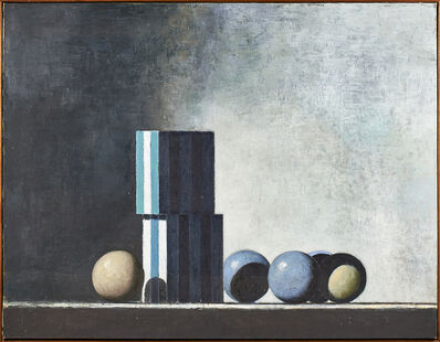 John Stuart Gibson, 'Stacked Boxes and Five Balls', 1987