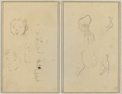 Paul Gauguin, 'Two Studies of a Child's Head; Two Studies of a Child's Head, a Woman in Profile, and a Man Wrestling an Animal [recto]', 1884-1888
