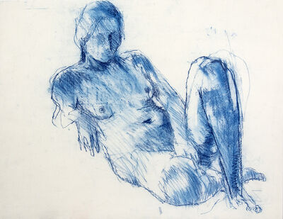 John Fox, 'Reclining Nude with Raised Leg (Blue)', 1980