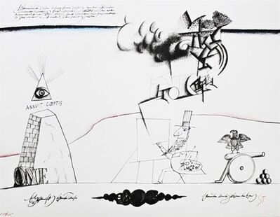 Saul Steinberg, 'Annuit Coeptis  (with Abraham Lincoln, from The New York International Portfolio)', 1966