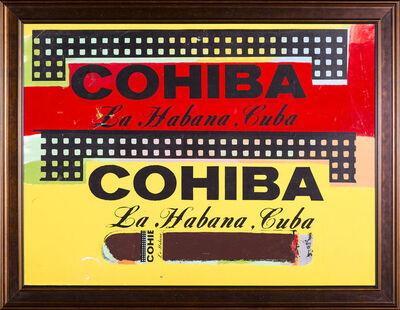 Steve Kaufman, 'Double Cohiba Cigar Original Oil Painting Warhol Famous Assistant', 1996