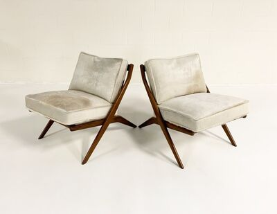 Folke Ohlsson, 'Scissor Chairs with Brazilian Cowhide Cushions, pair', 1950s