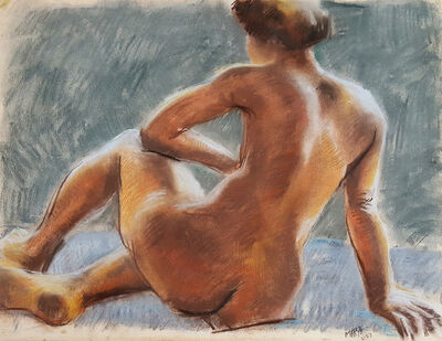Reginald Marsh, 'Sitting Nude', 1953