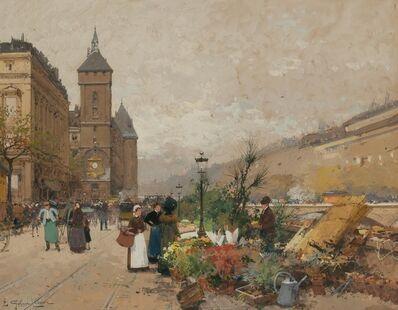 Eugène Galien-Laloue, 'Marche aux Fleurs et la Tour de l'Horloge'