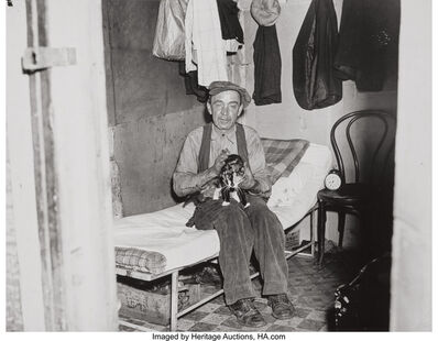 "Weegee, 'Shanty Town, Mr. ""Sawdust"" with ""Monkey""', 1940s"