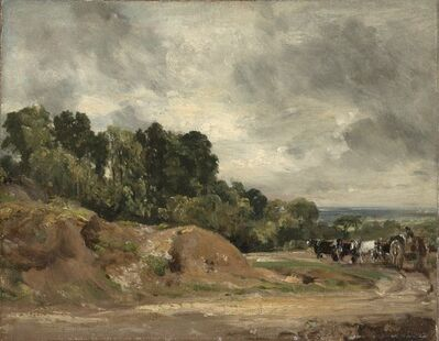 John Constable, 'Sandbanks and a Cart and Horses on Hampstead Heath', 1820-1825