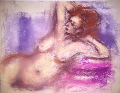 Jacques Zucker, 'Female Nude, Pastel Drawing After Renoir Polish Ecole D'Paris WPA Bezalel Artist', 20th Century
