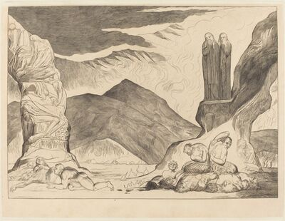 William Blake (1757-1827), 'The Circle of the Falsifiers: Dante and Virgil Covering their Noses because of the st', 1827