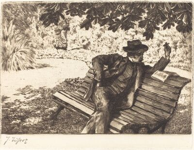 James Jacques-Joseph Tissot, 'Denoisel Reading in the Garden', 1882