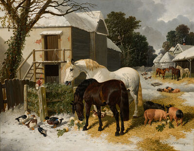 John Frederick Herring Jr., 'Winter Barnyard Scene', 1849