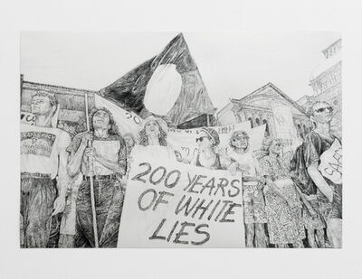 Sam Durant, 'Australian Aborigines Protest Over Bi-centenary Celebrations, Sydney, 1985 (Index) (200 Years of White Lies)', 2009