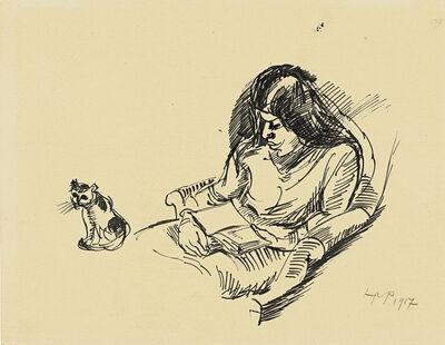 Max Pechstein, 'Lesende mit Katze (Woman reading with Cat)', 1917