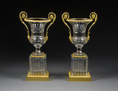 French, 'Pair Empire Clear Cut Glass and Ormolu Crater Vases on Square Bases', ca. 1815