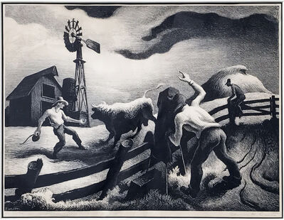 Thomas Hart Benton, 'Photographing the Bull', 1950