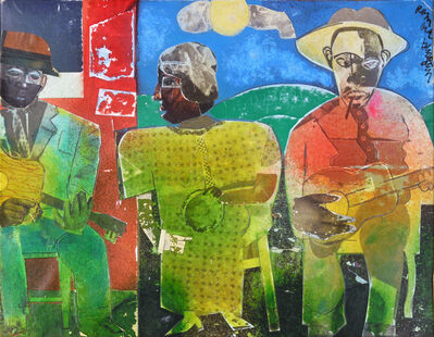 Romare Bearden, 'Tambourine Player / When the Evening Sun Goes Down', 1975