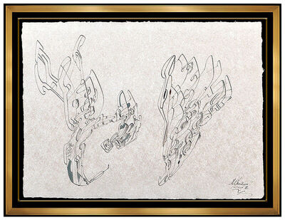 Mihail Chemiakin, 'Mihail Chemiakin Large Original Ink Drawing Hand Signed Metaphysical Heads Art', 1992