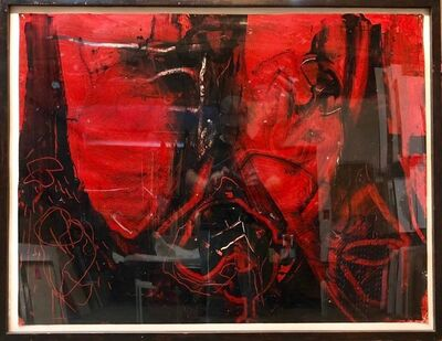 Sam Messer, 'Large Abstract Expressionist Bold Red Enamel Oil Painting', 20th Century