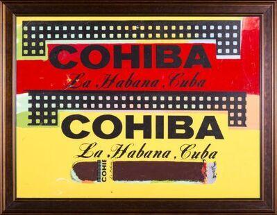Steve Kaufman, 'Steve Kaufman  Double Cohiba Cigar Original Oil Painting Warhol Famous Assistant', 1990-2010