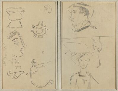 Paul Gauguin, 'A Caricature and Five Forms; A Man in Profile, a Winged Creature and a Boy [verso]', 1884-1888