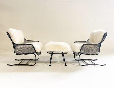 Russell Woodard, 'Sculptura Lounge Chairs and Ottoman with Sheepskin Cushions', 1950s