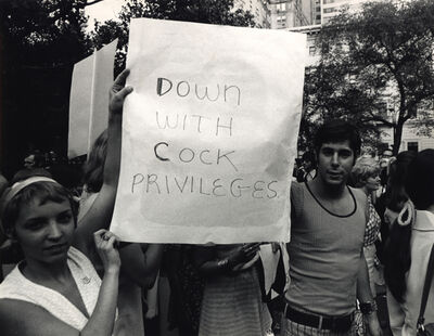 """Anonymous, 'Women's Liberation Protesters Carrying """"Down With Cock Privileges"""" Sign, New York, NY', ca. 1970"""
