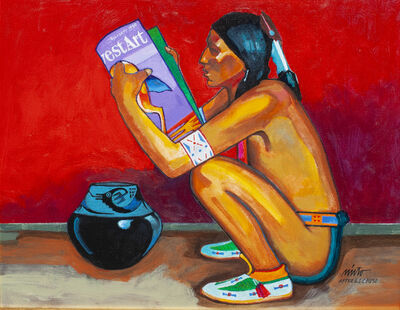 John Nieto, 'Pueblo Man Reading Southwest Art Magazine', ca. 2018