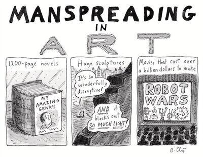 Roz Chast, 'Manspreading in Art', 2018