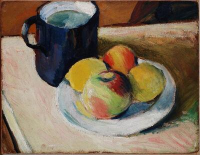 August Macke, 'Milchkrug mit Äpfeln auf Teller', 1909