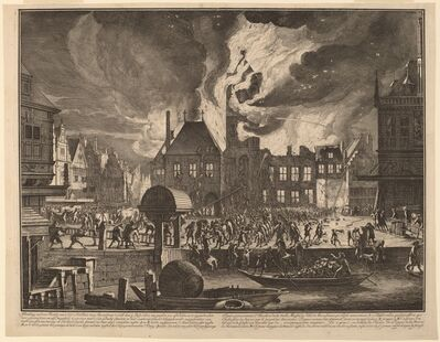 Jan van der Heyden, 'Burning of the Old Amsterdam Town Hall', 1690
