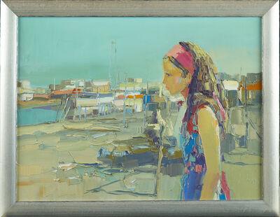 "Nicola Simbari, 'Original Oil Simbari Painting ""Jeune femme à l'Ostia Beach"" Signed Contemporary Art', 1980-2000"