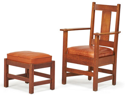 Limbert, 'Limbert armchair and L. & J.G. Stickley footstool, USA', early 20th C.