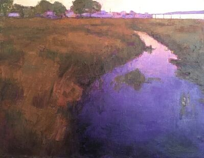 "Larry Horowitz, '""Purple Rivulet"" oil painting of river through brown grass', 2019"