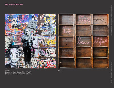 Mr. Brainwash, 'Enstein on wood boxes', 2011