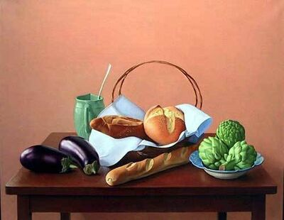 Ron Schwerin, 'Eggplants, Bread, and Artichokes'