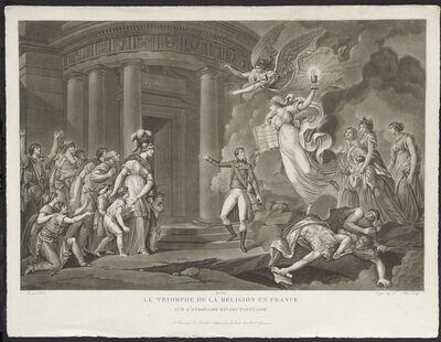 Dorgez et Morret, 'Le Triomphe de la religion en France sur l'athéisme révolutionnaire (The triumph of religion in France against revolutionary atheism)', 1803
