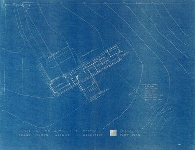 Frank Lloyd Wright, 'Seven Blueprints for the T.A. Pappas House, St. Louis, Missouri', circa 1960-1964