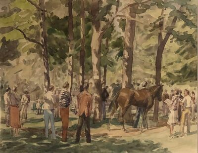 Anne Diggory, 'The Racetrack Paddock and Thoroughbred Owners, Saratoga Springs New York', circa 1978