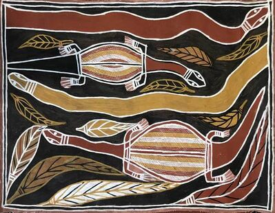 David Daymirringu Malangi (1927-1999), 'Goanna and Mangrove Snake', ca. 1995