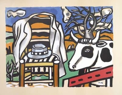 Fernand Léger, 'Chair, Hat And Cow In a Landscape', 1950s