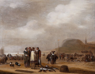 Willem Gillisz Kool, 'A Pair of Beach Scenes with Fisherfolk', 17th century