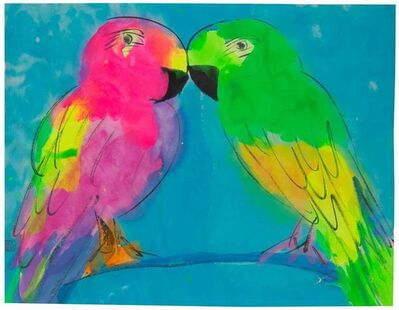 Walasse Ting 丁雄泉, 'Love Birds on Blue Branch', 1990-2000