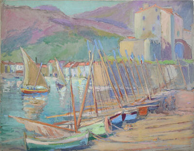 Gertrude Beals Bourne, '[Boat Masts, Collioure, France]', ca. 1924