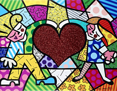 Romero Britto, 'Big Heart | hand embellished', 2019