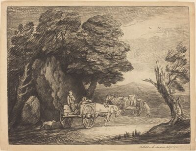 Thomas Gainsborough, 'Wooded Landscape with Two Country Carts and Figures', 1779/1780
